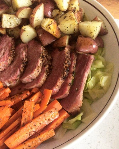 St. Patrick's Day Roasted Corn Beef and Cabbage